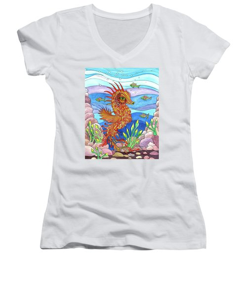Flashy Swimmer And Fishes Women's V-Neck (Athletic Fit)