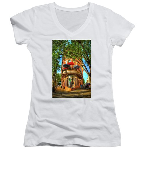 Flatiron Style Pickle Barrel Building Chattanooga Tennessee Women's V-Neck T-Shirt (Junior Cut) by Reid Callaway