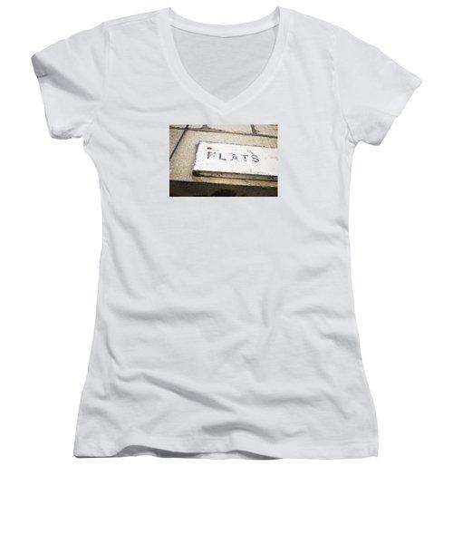 Flats Sign Women's V-Neck T-Shirt