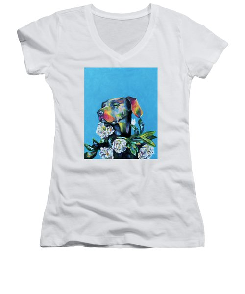 Fleur's Moment Women's V-Neck T-Shirt (Junior Cut) by Arleana Holtzmann