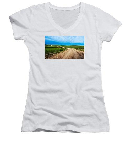 Flint Hills Spring Gravel Women's V-Neck T-Shirt