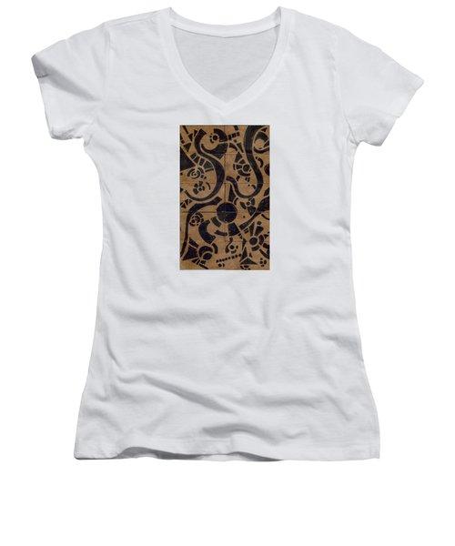 Flipside 1 Panel D Women's V-Neck T-Shirt (Junior Cut) by Joseph A Langley