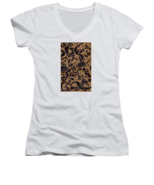 Flipside 1 Panel E Women's V-Neck T-Shirt (Junior Cut) by Joseph A Langley