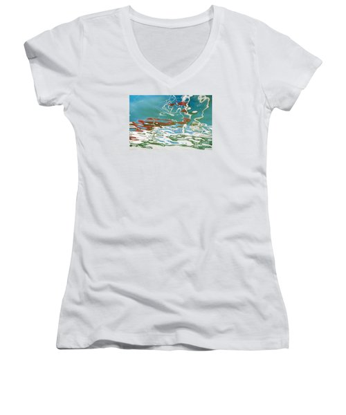Floating On Blue 35 Women's V-Neck (Athletic Fit)