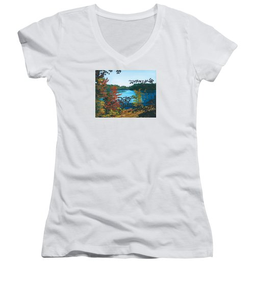 Women's V-Neck T-Shirt (Junior Cut) featuring the painting Floodwood by Lynne Reichhart
