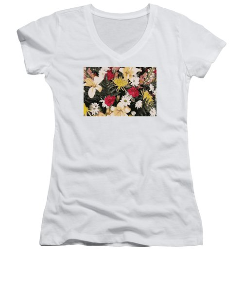 Floral 2 Women's V-Neck T-Shirt (Junior Cut)