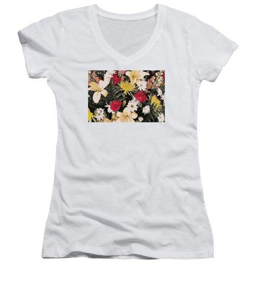 Floral 2 Women's V-Neck (Athletic Fit)