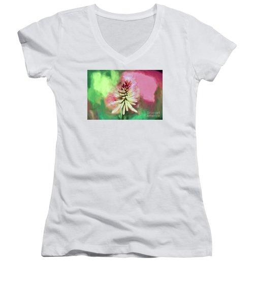 Women's V-Neck T-Shirt featuring the photograph Floral Art - Red Hot Poker by Kerri Farley