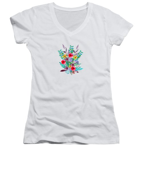 Floral Bouquet Women's V-Neck T-Shirt (Junior Cut) by Amanda Lakey