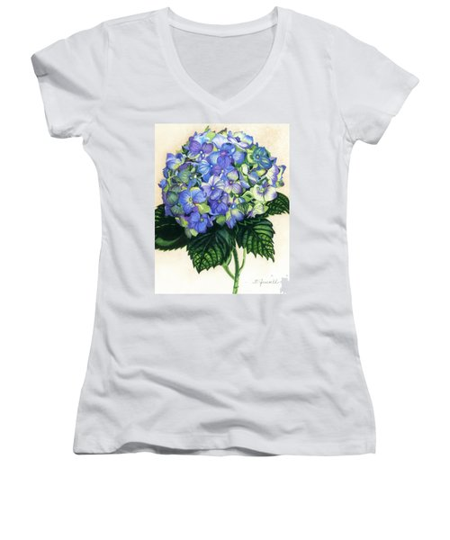 Women's V-Neck T-Shirt (Junior Cut) featuring the painting Floral Favorite by Barbara Jewell