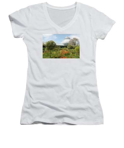 Women's V-Neck T-Shirt (Junior Cut) featuring the photograph Floral Notes by Diana Angstadt