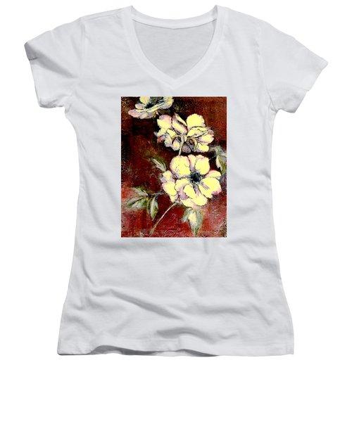 Floral Watercolor Painting Women's V-Neck T-Shirt (Junior Cut) by Merton Allen