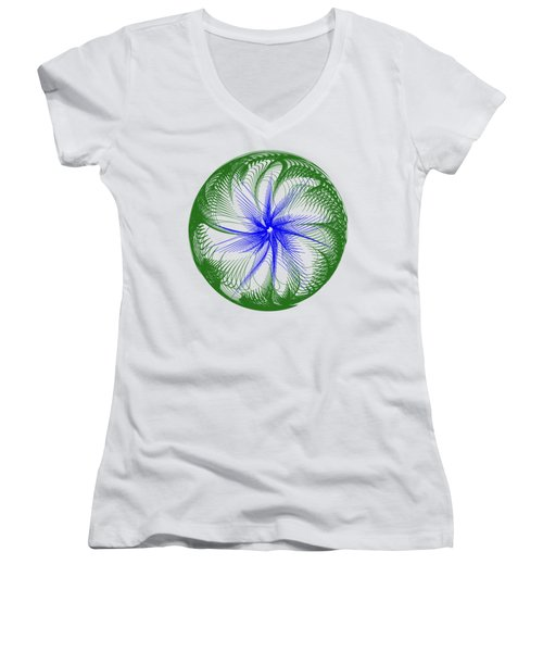 Floral Web - Green Blue By Kaye Menner Women's V-Neck