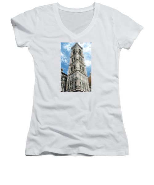 Florence Duomo Tower Women's V-Neck T-Shirt (Junior Cut) by Lisa Boyd