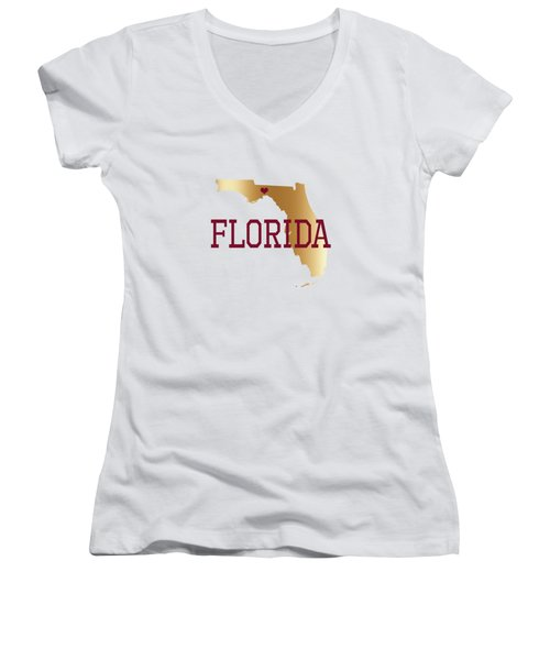 Florida Gold And Garnet With State Capital Typography Women's V-Neck (Athletic Fit)