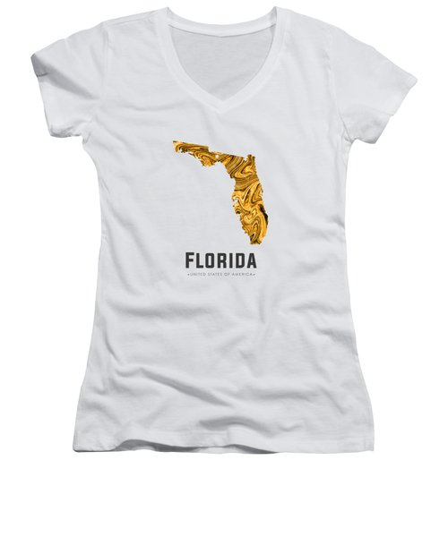 Florida Map Art Abstract In Yellow Gold Women's V-Neck T-Shirt