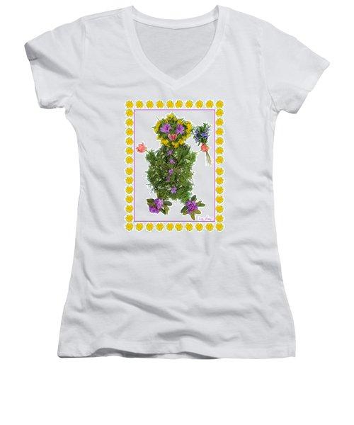 Women's V-Neck T-Shirt (Junior Cut) featuring the digital art Flower Baby by Lise Winne