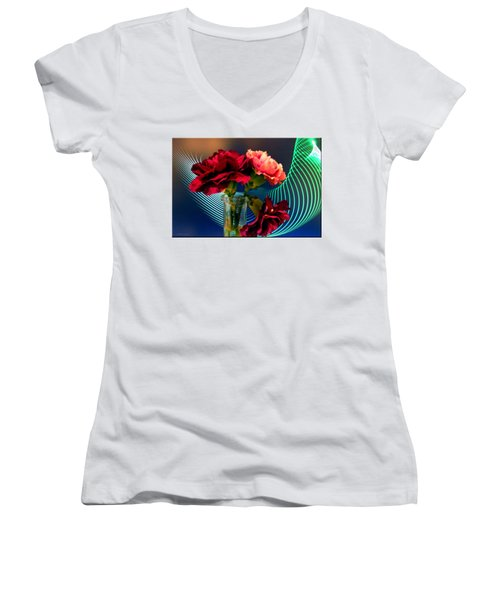 Flower Decor Women's V-Neck T-Shirt (Junior Cut)