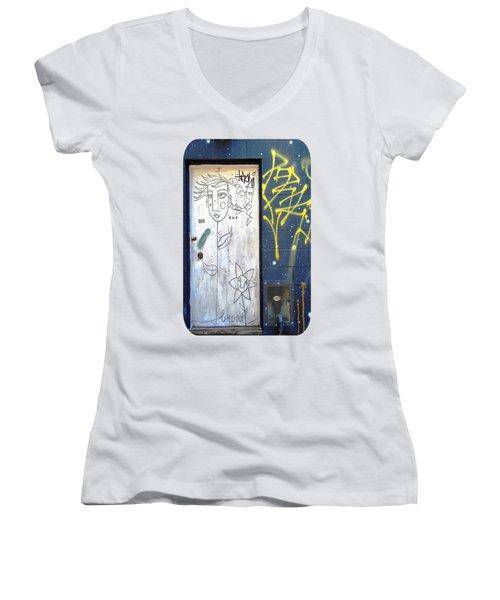 Flower Faces Women's V-Neck T-Shirt (Junior Cut) by Ethna Gillespie