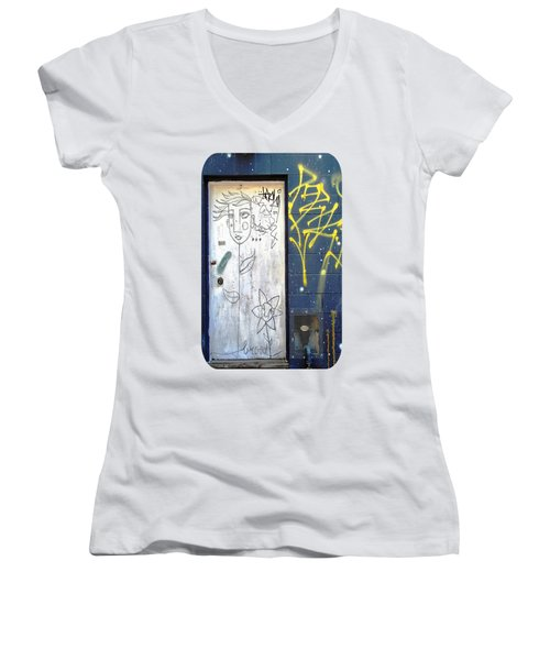 Flower Faces Women's V-Neck T-Shirt
