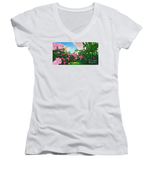 Women's V-Neck T-Shirt (Junior Cut) featuring the painting Flower Garden Xi by Michael Frank