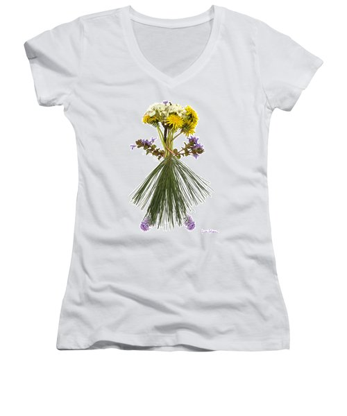 Flower Head Women's V-Neck (Athletic Fit)