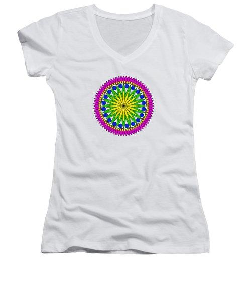 Flower Mandala By Kaye Menner Women's V-Neck T-Shirt (Junior Cut) by Kaye Menner