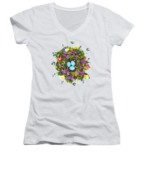 Flower Nest Women's V-Neck