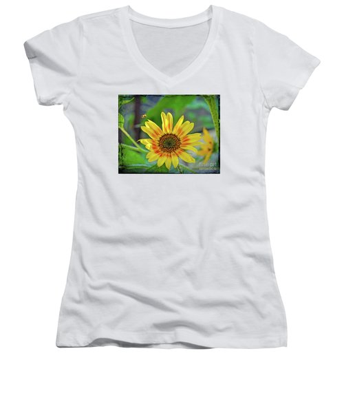 Women's V-Neck T-Shirt featuring the photograph Flower Of The Sun by Kerri Farley