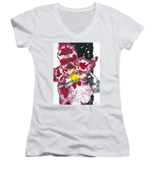 Flower Orchid 11 Elena Yakubovich Women's V-Neck T-Shirt (Junior Cut) by Elena Yakubovich
