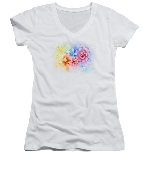 Flower Power Watercolor Women's V-Neck T-Shirt (Junior Cut) by Olga Shvartsur