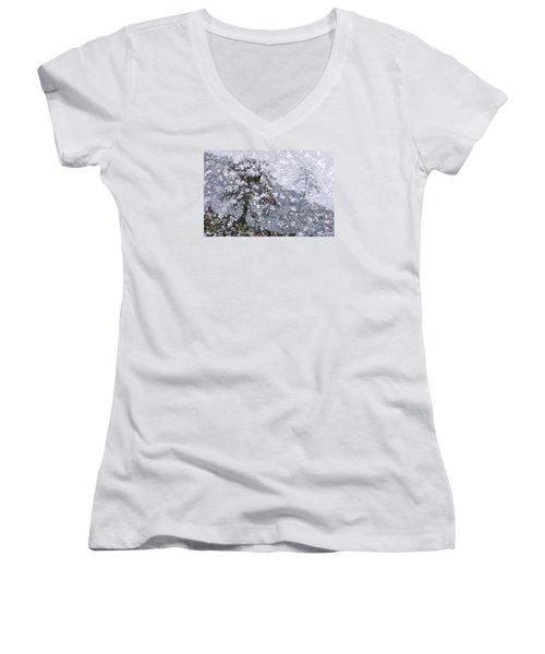 Flower Shower Women's V-Neck T-Shirt (Junior Cut) by Ed Hall