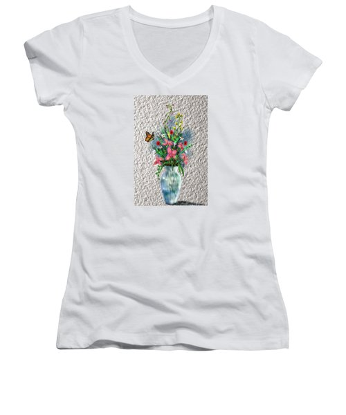 Women's V-Neck T-Shirt (Junior Cut) featuring the digital art Flower Study Three by Darren Cannell