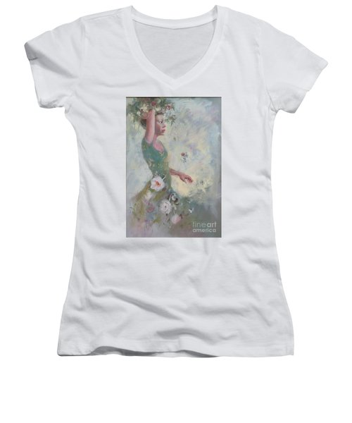 Flower Vender Women's V-Neck T-Shirt (Junior Cut) by Gertrude Palmer