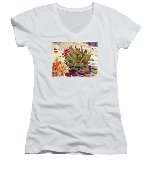 Flowering Opuntia Women's V-Neck (Athletic Fit)