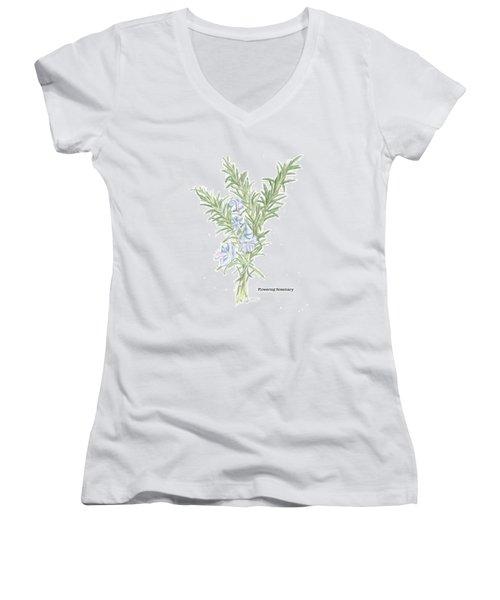 Flowering Rosemary Women's V-Neck (Athletic Fit)