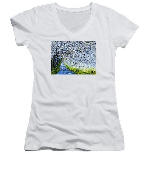 Flowering Tree Lane Women's V-Neck T-Shirt