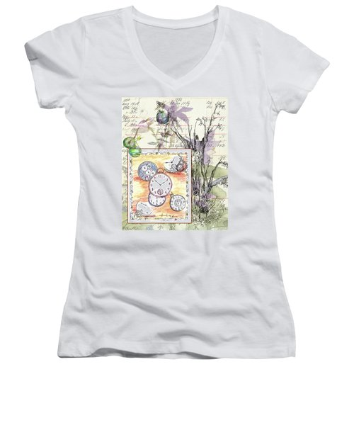 Women's V-Neck T-Shirt (Junior Cut) featuring the drawing Flowers And Time by Cathie Richardson