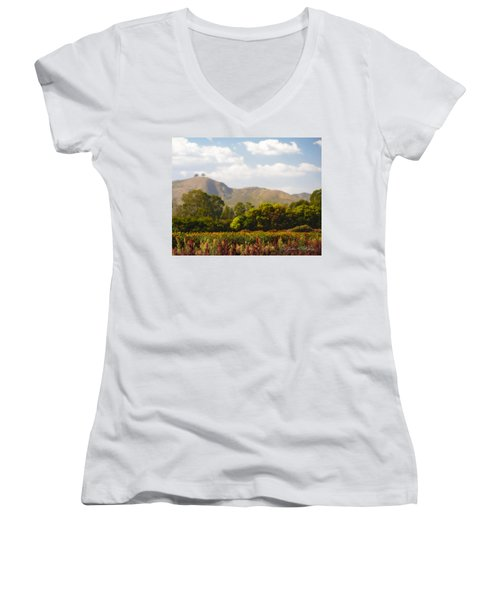 Women's V-Neck T-Shirt (Junior Cut) featuring the photograph Flowers And Two Trees by John A Rodriguez