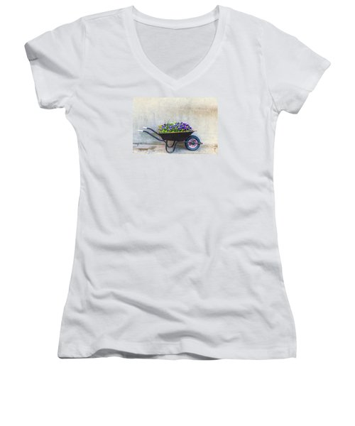 Flowers In A Wheelbarrow Women's V-Neck (Athletic Fit)