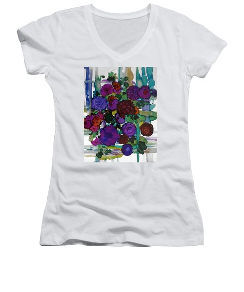 Flowers On Trellis Women's V-Neck T-Shirt (Junior Cut) by Alika Kumar