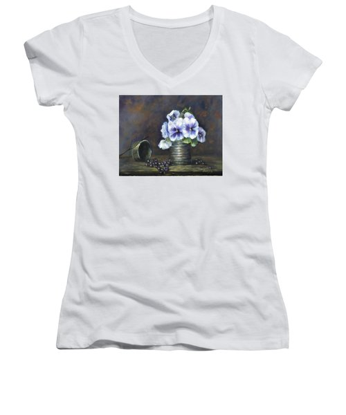 Flowers,pansies Still Life Women's V-Neck T-Shirt