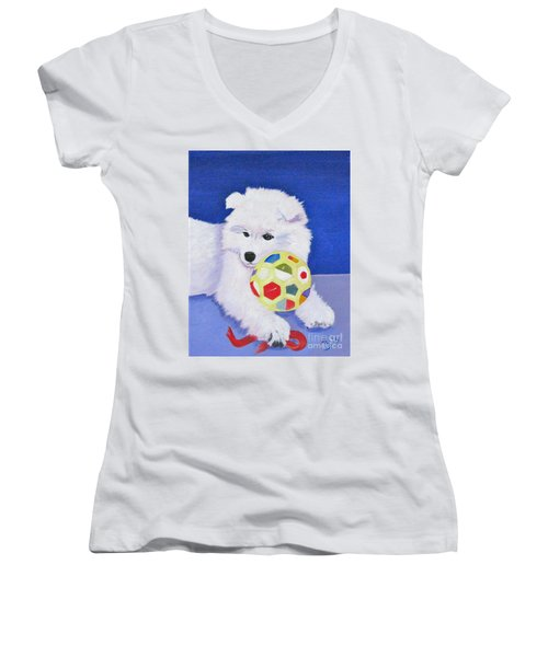 Fluffy's Portrait Women's V-Neck T-Shirt (Junior Cut) by Phyllis Kaltenbach