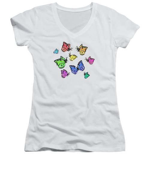 Flutters Women's V-Neck T-Shirt (Junior Cut) by Shana Rowe Jackson