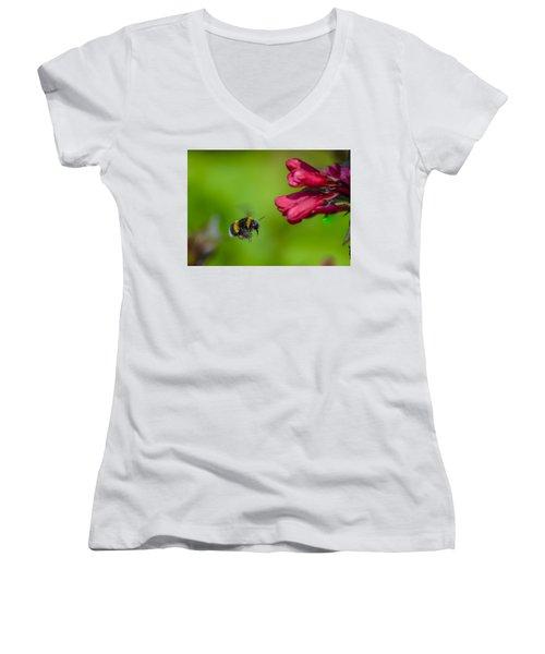 Flying Bumblebee Women's V-Neck T-Shirt