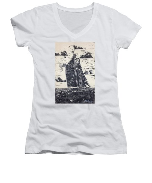 Flying High Women's V-Neck T-Shirt (Junior Cut) by Stan Tenney