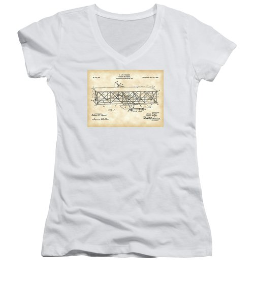 Flying Machine Patent 1903 - Vintage Women's V-Neck T-Shirt (Junior Cut) by Stephen Younts
