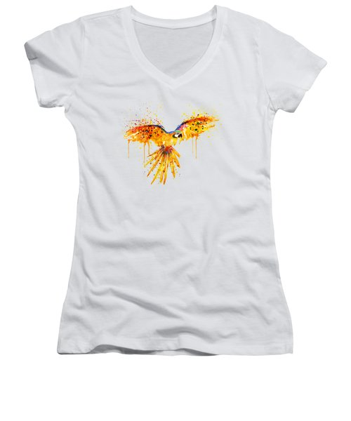 Flying Parrot Watercolor Women's V-Neck T-Shirt (Junior Cut) by Marian Voicu