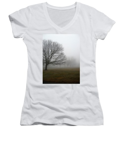 Women's V-Neck T-Shirt (Junior Cut) featuring the photograph Fog by John Scates