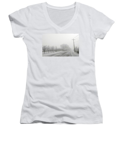 Fog On Floweree Dr Women's V-Neck (Athletic Fit)